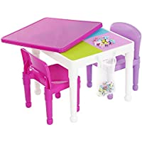 Tot Tutors 2-in-1 Pink Plastic LEGO Compatible Activity Table and 2 Chairs Set Features a Play Surface Compatible with LEGO and Duplo Building Block