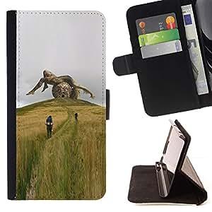 For Apple iPhone 5C Case , Metáfora Escultura profunda de ciencia ficción de Verano- la tarjeta de Crédito Slots PU Funda de cuero Monedero caso cubierta de piel