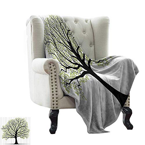 RenteriaDecor Tree of Life Decor,Plush Blanket Big Old Lush Tree with Lot of Leaves and Branches Nature Trust Home Artprint 80