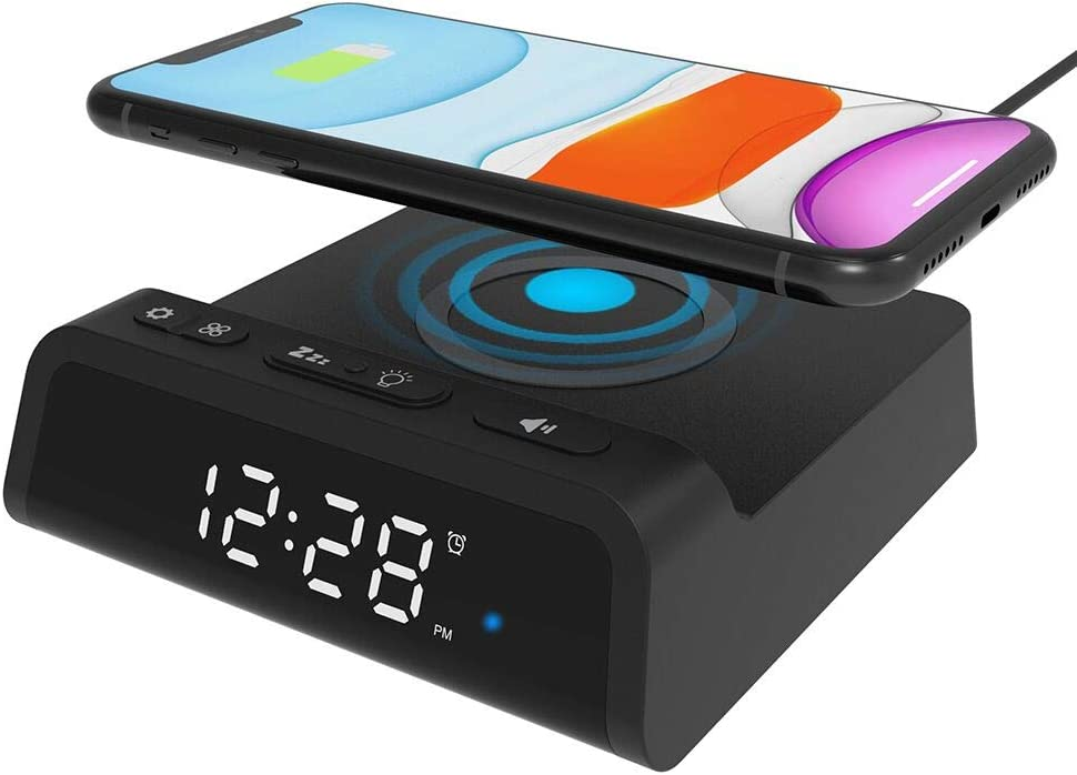 Alarm Clock with Wireless Charging Pad, Sleep Timer,7.5W Wireless Charger for iPhone 12/11/Pro Max/SE2/XR/XS/X/8/8plus,10W Fast Wireless Charging for Galaxy S20/S10/S9/Note10/9/8, Additional USB Port