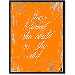 "SpotColorArt She Believe She Could So She Did Framed Canvas Art, 7"" x 9"", Orange"