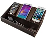 Stock Your Home Electronics Charging Station Uses Include Electronics Organizer, Charging Dock and Cell Phone Charging Station Organizer, Brown