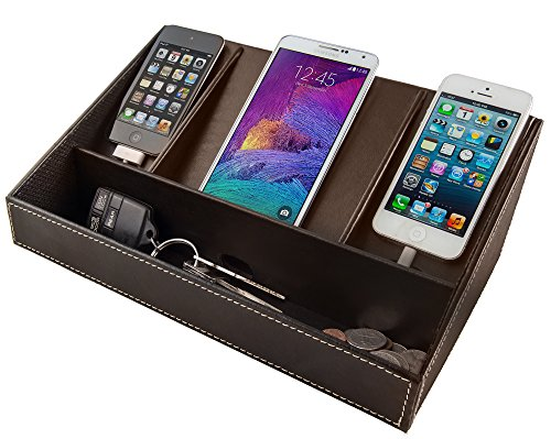 Faux Leather Charging Station Brown