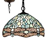 Tiffany Hanging Lamp 12 inch Stained Glass Pendant Lighting Crystal Bead Dragonfly Style Tiffany Chandelier Lights for Dinner Room Bedroom Living Room as Pendant Ceiling Fixture