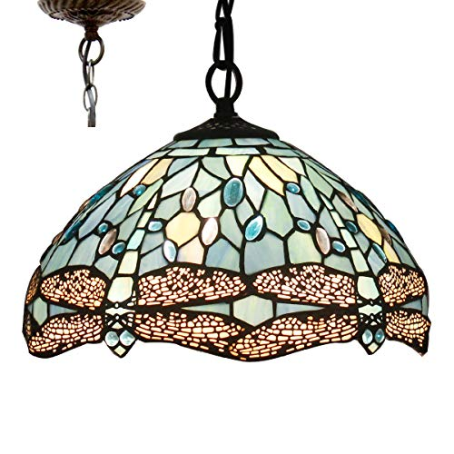 Tiffany Hanging Lamp 12 inch Stained Glass Pendant Lighting Crystal Bead Dragonfly Style Tiffany Chandelier Lights for Dinner Room Bedroom Living Room as Pendant Ceiling Fixture Copper Stained Glass Chandelier