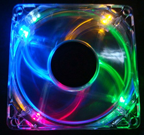 Autolizer Sleeve Bearing 80mm Silent Cooling Fan for Computer PC Cases - High Airflow, Quite, and Transparent Clear (Multi-Color RGB Quad 4-LEDs) - 2 Years Warranty