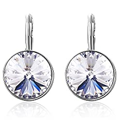 Rhodium Plated Drop Earrings Made with Swarovski Crystals