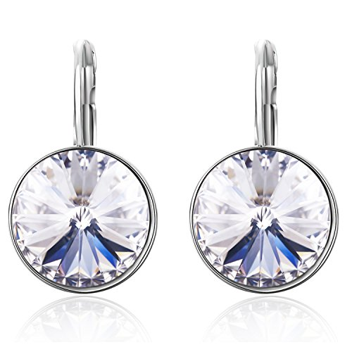SBLING Rhodium Plated Leverback Drop Earrings Made with Swarovski Crystals (9.0 - Solitaire Earrings Drop