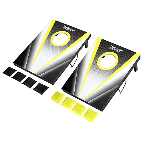 Hathaway Compact Cornhole Bean Bag Toss Game Set Black by Hathaway