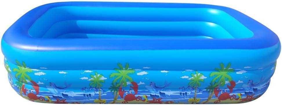Piscina De Nataci/ón Duradera Plegable De PVC Piscina Inflable Piscina Familiar Deluxe para Familias Al Aire Libre Al Aire Libre Jard/ín Adminitto88 Piscina Hinchable Rectangular