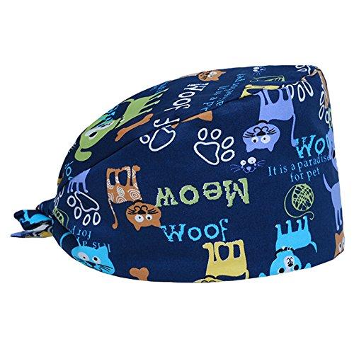 Funcl Scrub Cap Surgical Scrub Cap Medical Doctor Bouffant Turban Cap with Sweatband Scrub Hat for Women/Men