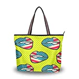 Women Large Tote Top Handle Shoulder Bags Sexy Lips With Dot Ladies Handbag
