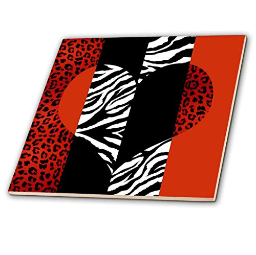 3dRose Red, Black, Orange and White Animal Print - Leopard and Zebra Heart - Ceramic Tile, 4-Inch (ct_35439_1) ()
