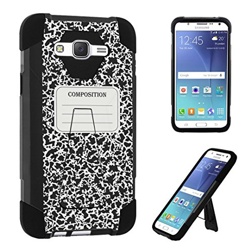 Galaxy J7 (J700) Case, DuroCase Transforma Kickstand Bumper Case for Samsung Galaxy J7 SM-J700 / J700 / SPHJ700 (2016 USA Models & 2015 International models) - (Composition Note Book)