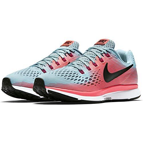 Nike Women s Air Zoom Pegasus 34 Running Shoe Mica Blue White Racer Pink Sport Fuchsia, 10.5 B M US