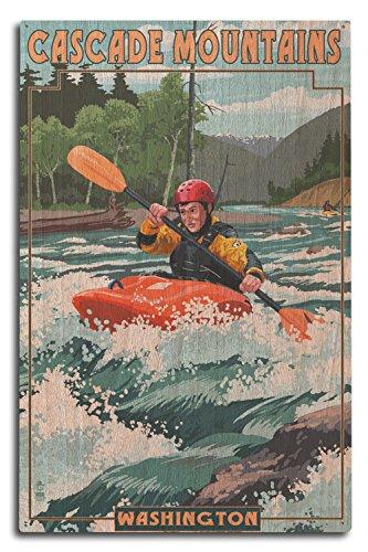 Lantern Press Cascade Mountains, Washington - Kayak Scene (10x15 Wood Wall Sign, Wall Decor Ready to Hang)