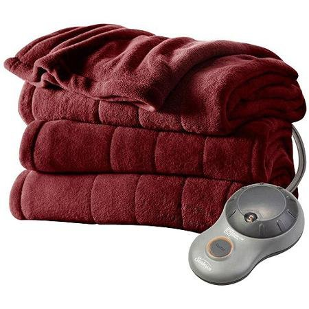 Sunbeam Imperial Plush Heated Blanket ● Red ● Full -  Twin Imperial