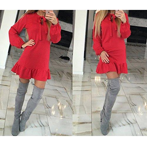 4ef3f5661851 ... Damen Sexy Minikleid Langarm A Linie Cocktail Kleider Mit Kordelzug  Slim Fit Stretch Kleid Partykleid Abendkleid ...