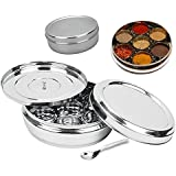 King International Stainless Steel Spice Box with Steel Lid and 7 Containers and 1 Spoon