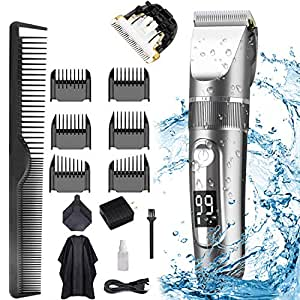 Hair Clippers for Men, POLENTAT Cordless Rechargeable Grooming Kit Professional Hair Trimmer Waterproof for Hair Cutting, LED Display(15 Pieces)