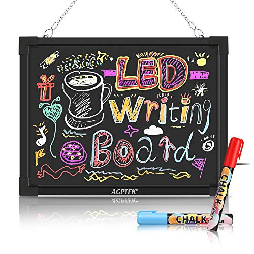 AGPtEK 16-Inch x 12-Inch Flashing Illuminated Erasable Neon LED Message Writing Board Bundle with Fluorescent Pens, Remote Control, USB Controller, Eraser Cloth, Metal Chain and Power Adapter