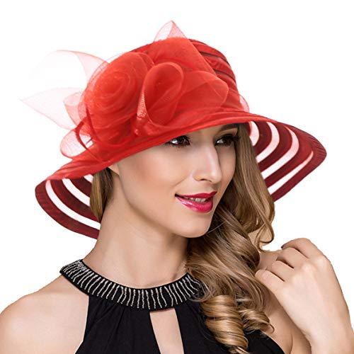 - Womens Satin Kentucky Derby Church Wedding Sun Hats Fascinator Wide Brim Tea Party Bucket Hat (Red)