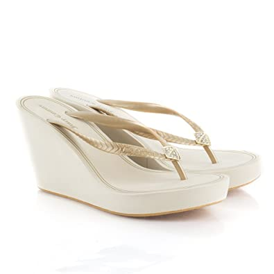 eb2d5fd5da5a Juicy Couture Gold BRIT J482061 Women s Wedge Flip Flop Gold Fabric ...