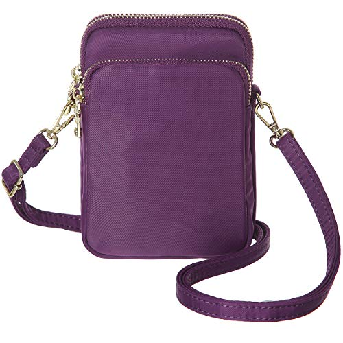 MINICAT RFID Blocking Small Crossbody Bag Nylon Cell Phone Purse Wallet For Women(Purple-rfid Blocking)
