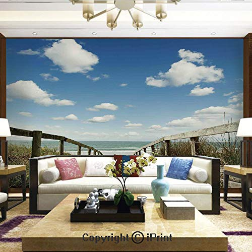 Mural Wall Art Photo Decor Wall Mural for Living Room or Bedroom,Sandy Path Leads to Ocean Pacific Puffy Clouds Vacation Serene Relaxing Beach,Home Decor - 100x144 inches ()