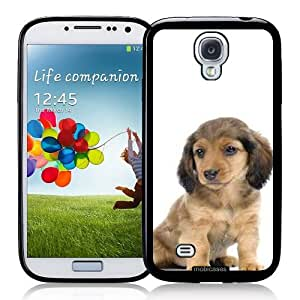 Dachshund (Long-Haired) Puppy Dog - Protective Designer BLACK Case - Fits Samsung Galaxy S4 i9500