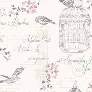 Aviary–Papel pintado Holden Décor con pájaros y flores