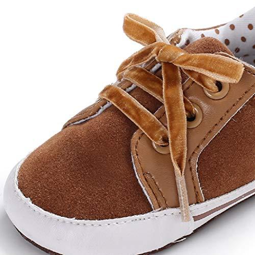 Niños Zapatos Para zapatillas zapatos Bebé Marrón Pequeños 18 Lona zapatos Encaje De Cuna Auxma 0 Meses Niñas Deporte PBzdPq