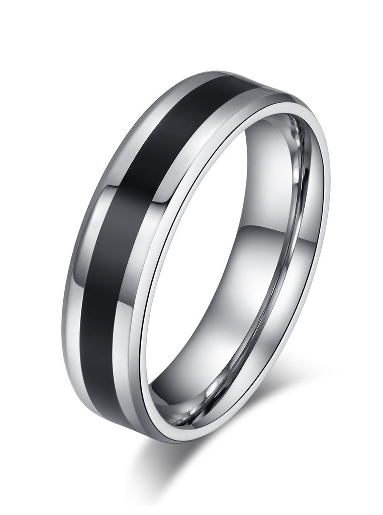 Stainless Steel Wedding Band Ring for Men Women Valentine Couple Engagement Promise, Middle Black Vnox Jewelry CR--012