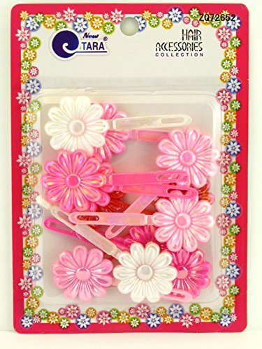 - Tara Girls Self Hinge Flower Hair Barrettes - Pink & White - 12 Pcs.
