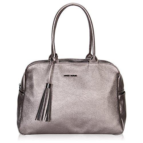 Hynes Victory Top Handle Fashion Woman Handbag Shoulder Bag Metallic Silver (Purse Metallic Handbag)