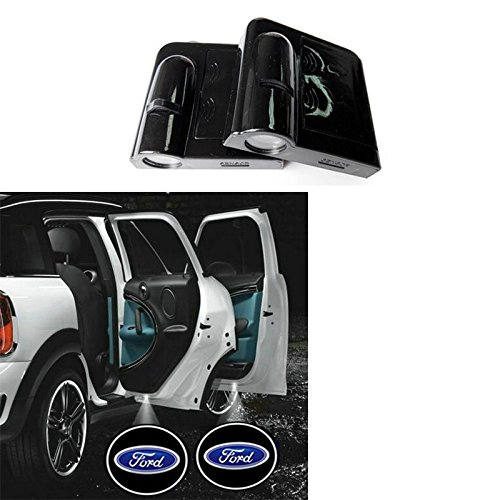 Soondar® 2 x Wireless No Drill Type Led Laser Door Shadow Light Welcome Projector Light Led Car Door Logo Ford Ghost Shadow Emblems (Ford) - No Drilling Required