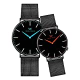 Welly Merck Couple Watches Valentines Day Gifts for Her and His Pair Watch Swiss Quartz Movement 36 & 42 mm Red & Blue Hand Black Mesh Interchangeable Watch Band 50M Water Resistant