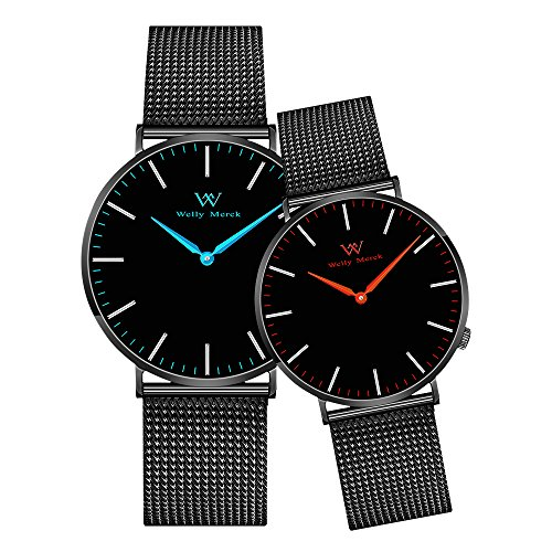 Welly Merck Couple Watches Valentines Day Gifts for Her and His Pair Watch Swiss Quartz Movement 36 & 42 mm Red & Blue Hand Black Mesh Interchangeable Watch Band 50M Water Resistant by WM WELLY MERCK