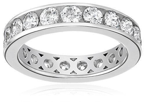 (Platinum-Plated Sterling Silver Swarovski Zirconia Channel Set All-Around Band Ring (3 cttw), Size 8)