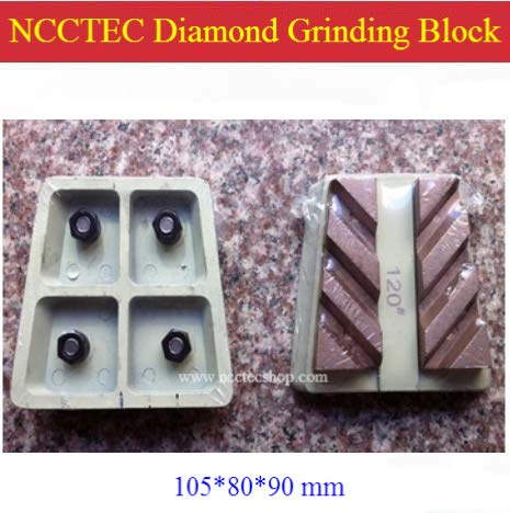 Anncus 4'' Diamond Welded Metal Bond Horseshoe Grinding Blocks (5 pcs per lot) | 105mm Grinding Pads Tools for Surface Coarse Grinding