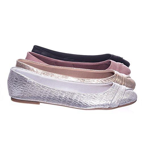 Round Toe Ballet Flats, Ballerina Shoe in Glitter Metallic & F-Suede
