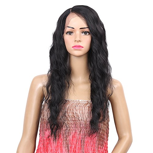 Synthetic Wigs for Women Body Wave Lace Front Wig Long Wavy Side Parting Heat Resistant Replacement Wigs Natural Looking 26 inch(1b) (26) (Lace Black Front Wigs)