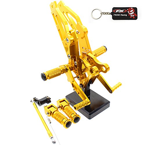 FXCNC Racing Grom Billet Motorcycle Rearset Foot Pegs Rear Set Footrests Fully Adjustable Foot Boards Fit For Honda GROM MSX125 2012 2013 2014 2015 2016 Gold (Shift Linkage Honda)