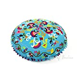 Eyes of India - 24'' Blue Round Decorative Floor Cushion Seating Meditation Pillow Throw Cover Indian Bohemian Boho