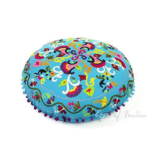 """EYES OF INDIA - 24"""" Blue Round Decorative Floor Cushion Seat"""
