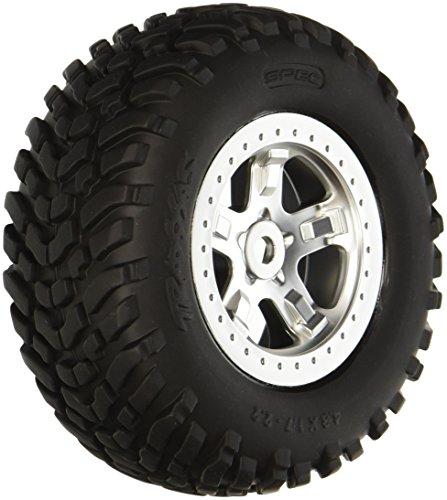 Racing Satin - Traxxas 5973 SCT Off-Road Racing Tires Pre-Glued on Satin Chrome, Beadlock-Style Wheels