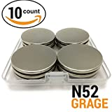 "Magnissimo! Neodymium Magnets N52 [10 pcs] Earth Magnets Disc 1.26""D x 0.1""H Perfect for DIY, Arts & Crafts, Misti, Home, School, Science and Office Projects. Extra Strong Magnets"