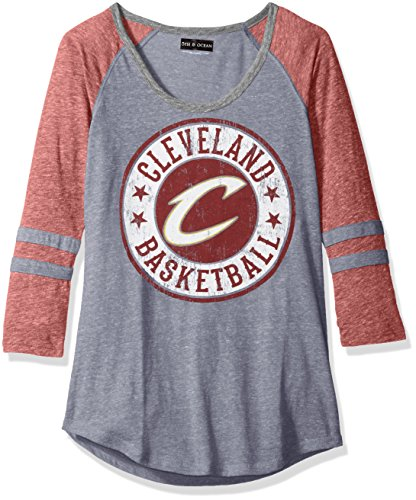 NBA Cleveland Cavaliers Adult Women Ladies Tri Blend Jersey 3/4 sleeve with sleeve stripes,XL,Tri Natural Navy