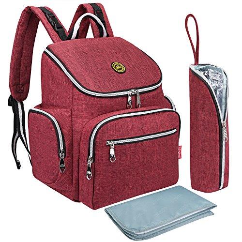 S-ZONE Multi-funci¨®n Baby Pa?al Bolsa mochila con cambio de almohadilla y port¨¢til de bolsillo aislado Rojo