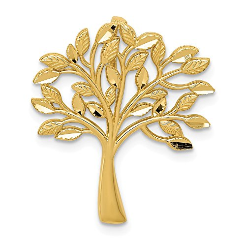14K Yellow Gold Diamond-cut Polished Tree of Life Slide Pendant from Roy Rose Jewelry ()